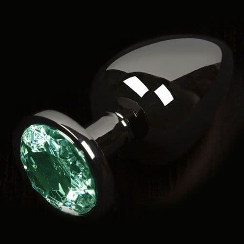 Graphite Style Small Anal Plug With Green Gem